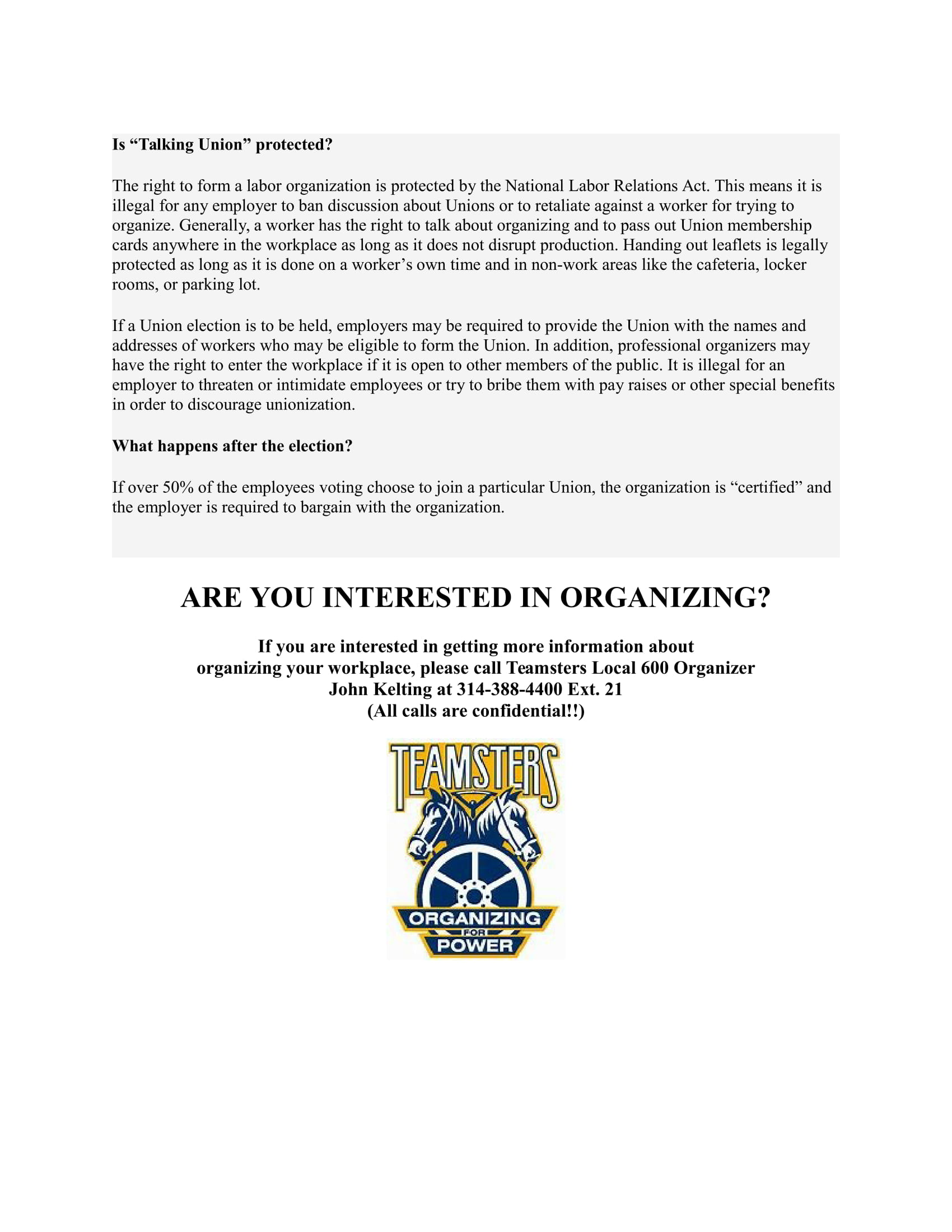 Teamsters Local 600 | Organizing