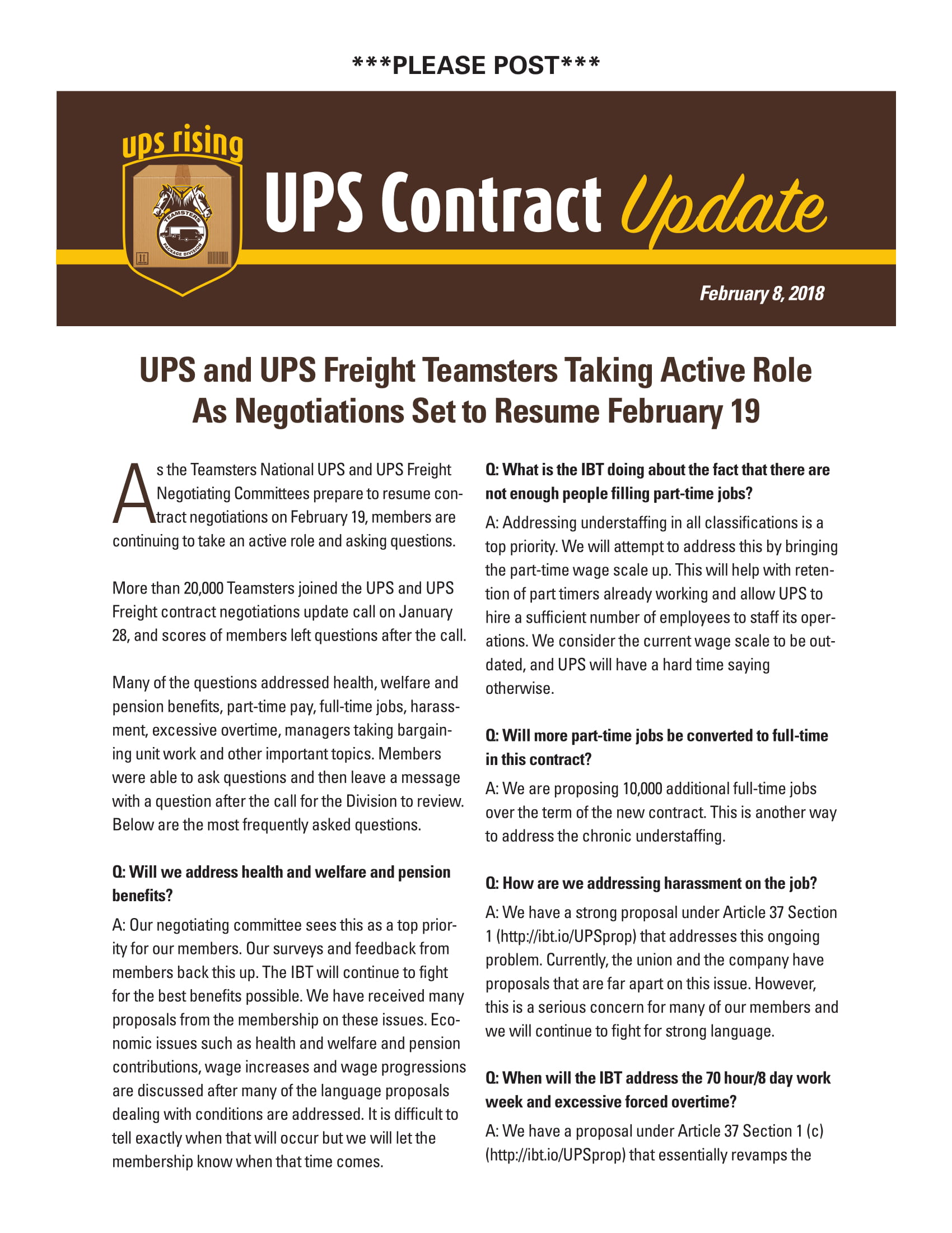 Teamsters local 600 ups contract update 282018 platinumwayz